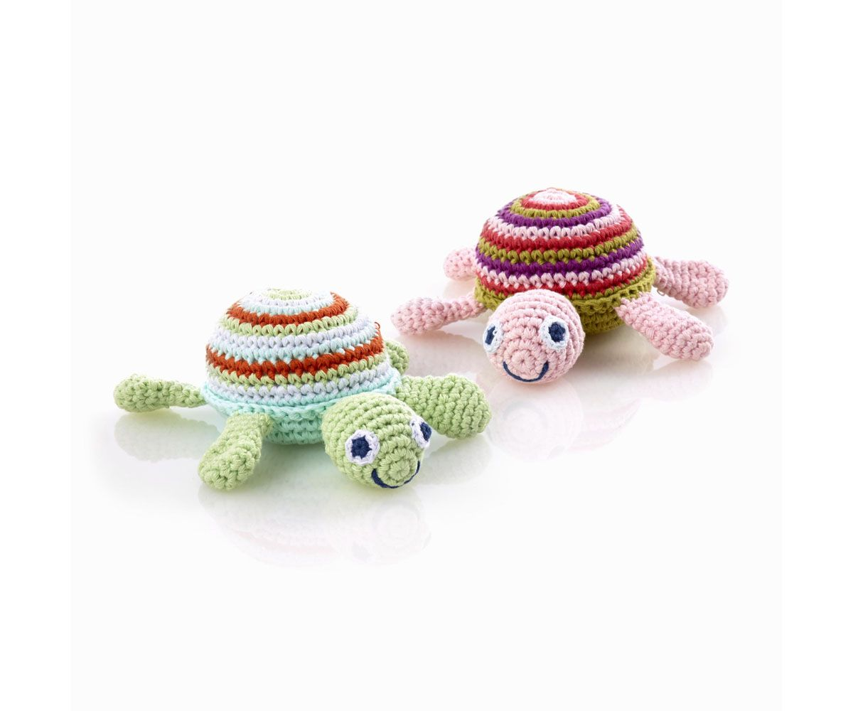 Crochet Turtles In Shades Of Blue And Pink These Baby Toy Rattles