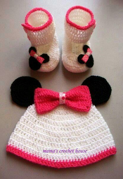 Minnie Mouse Baby Set Crochet For Baby Pinterest