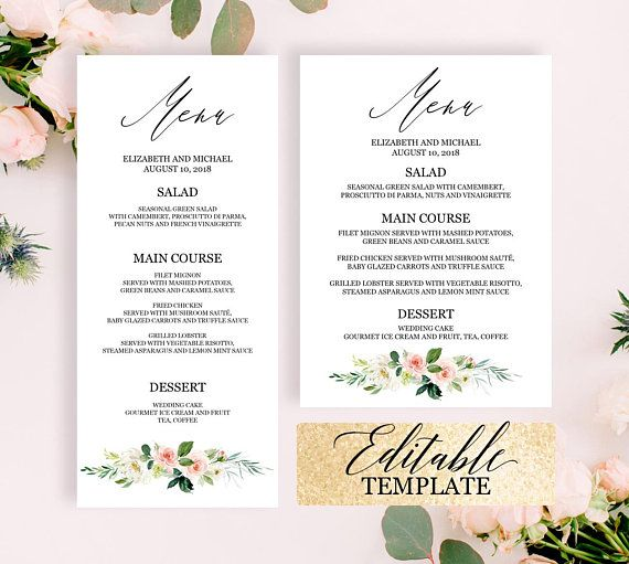 Menu template download, Dinner party menu template, Editable