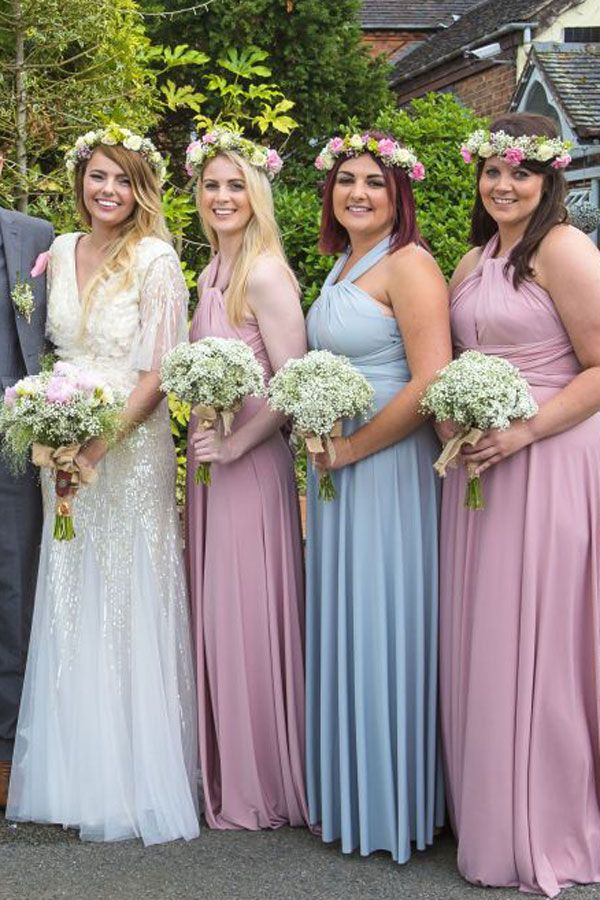 096b58e627 Dusky Pink and pale blue Dove Grey bridesmaids dresses - can be wrapped and  worn in endless styles or all in the same way www.willowandpearl.co.uk