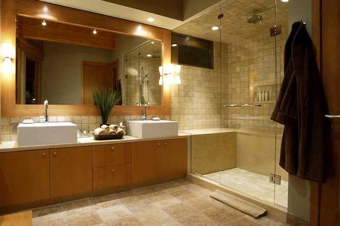 Feng Shui Badezimmer feng shui badezimmer in hellbraun eckiger spiegel duschkabine