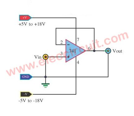 simple lm741 circuits circuits pinterest simple electronicbuffer op amp unity gain follower using lm741