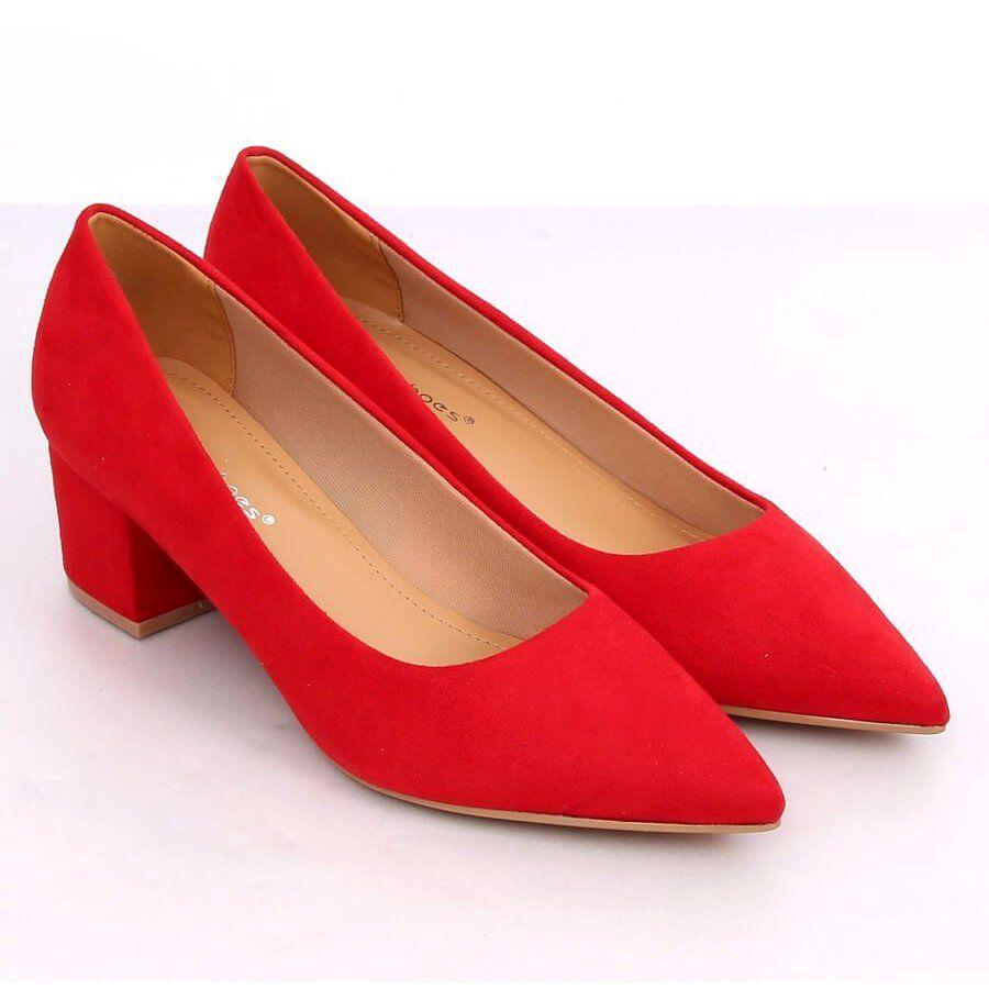 Czolenka Na Niskim Obcasie Czerwone A 3370 Red Heels Kitten Heels Peep Toe