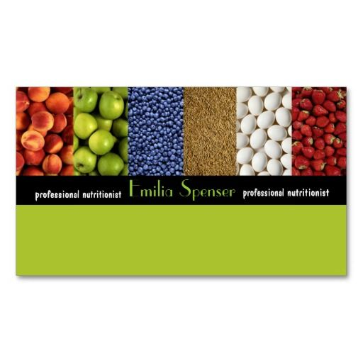 Yellow Green Nutritionist/Healthy Life Card Business Card
