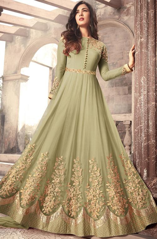 2fb1f1b1cb Olive Green Designer Embroidered Net Party Wear Anarkali Suit – Saira's  Boutique