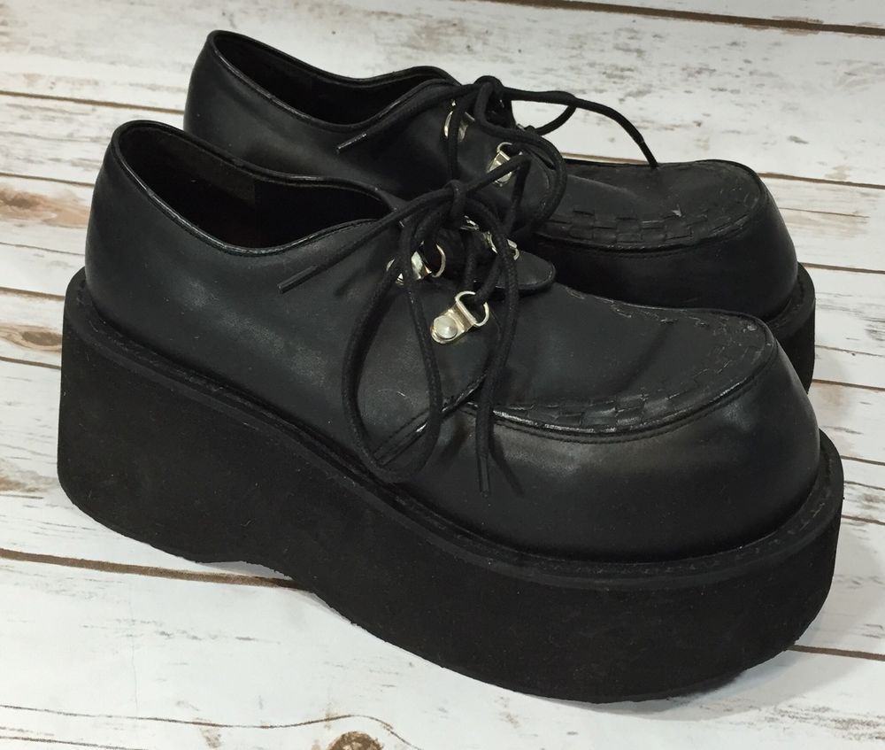 0f17f89eaf1f86 Vintage 90s Hot Topic Black Platform Shoes Creepers Cyber Goth Mens 8  Womens 10  HotTopic  FashionSneakers