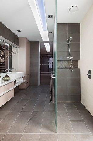 Modern Master Bathroom With Edimax Sands X   Grey Rectified Floor Tile, Slate  Tile Floors, Vessel Sink, Flush Light