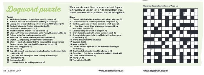 Spring 2014 - Dogs Trust Supporter Magazine 'Dogword Puzzle