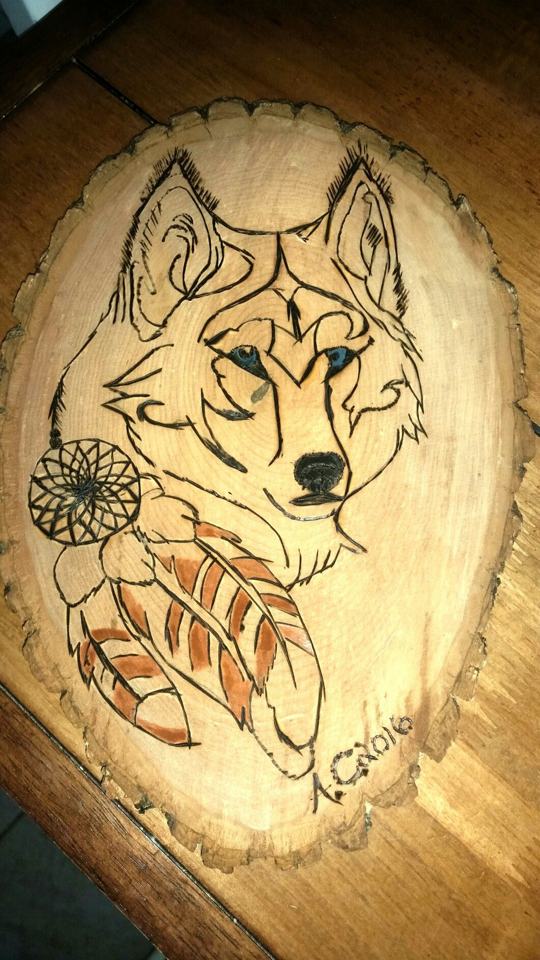 Wolf Wood Burn with Simple Paint by Me