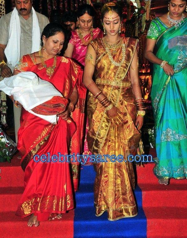 Laxmi Pranathi Jr Ntr Wife In Traditional Wedding Saree Saree Wedding Asian Wedding Dress Bridal Blouse Designs