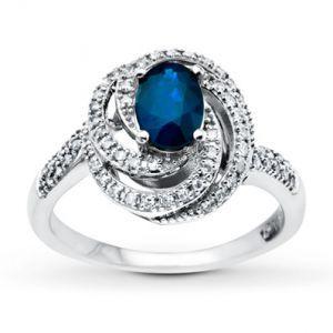 Kay Jewelers Natural Sapphire Ring swirl Diamonds 14K White Gold- Sapphire.jpg