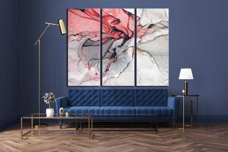 Large Marble Art Marble Canvas Print Beautiful Abstract Art Etsy Beautiful Abstract Art Red Wall Decor Marble Art