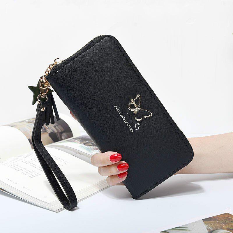Women Girls Wallet PU Leather Zip Around Clutch Purse Butterfly Handle Bags New