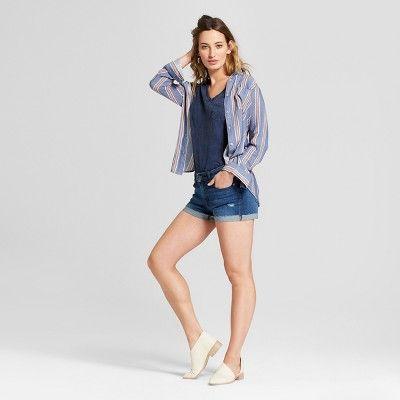996b48c633e8c Women's Monterey Pocket V-Neck Short Sleeve T-Shirt - Universal Thread Navy  (Blue) Xxl