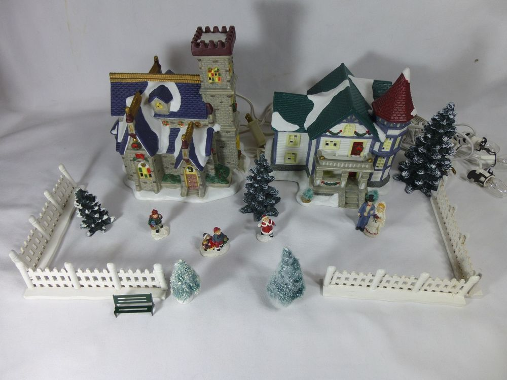 St. Nicholas Square Lighted Village Collection Victorian House Church Start Set #StNicholasSquare