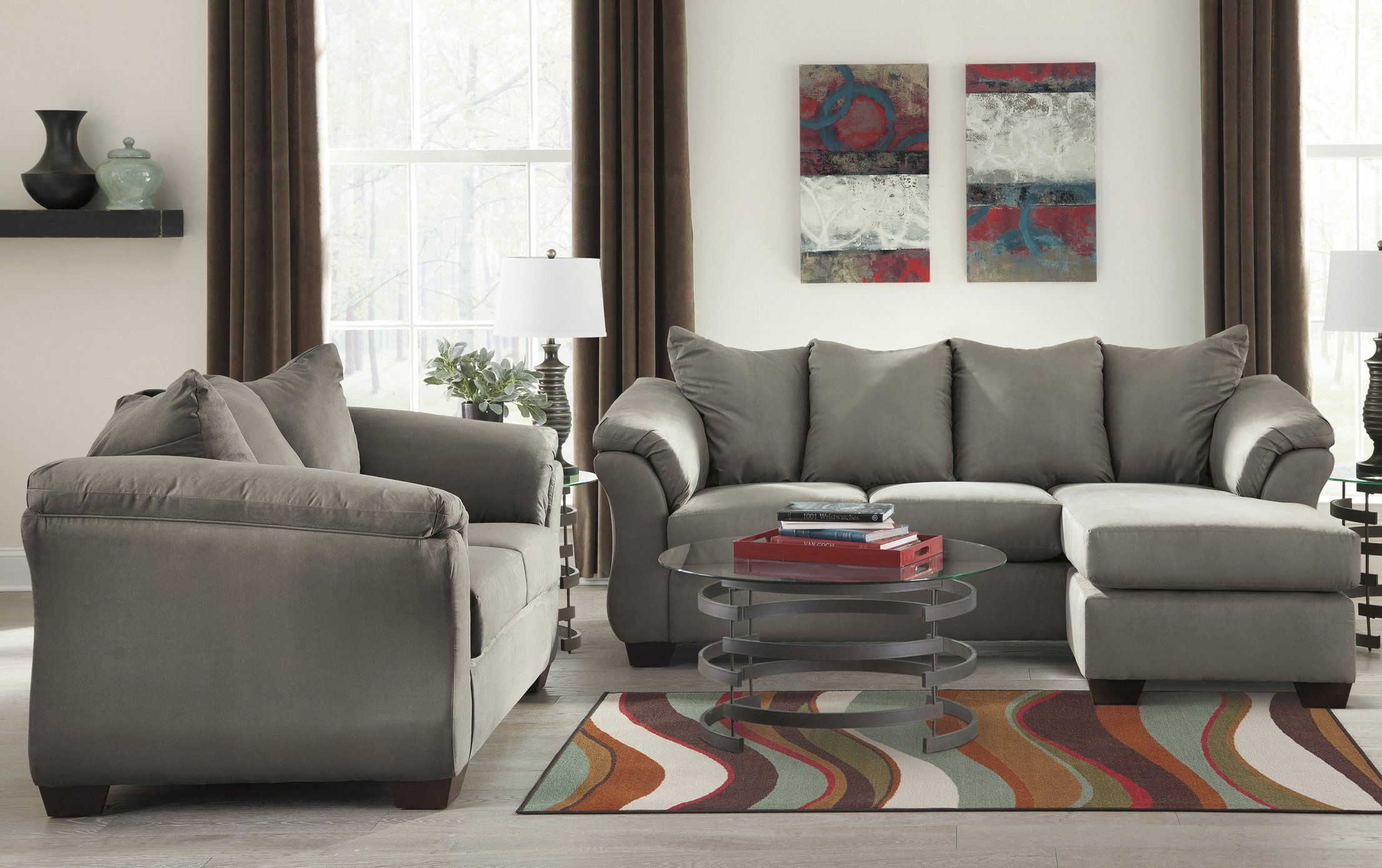 Best Ashley Darcy Cobblestone 2 Piece Sectional Sofa And 400 x 300