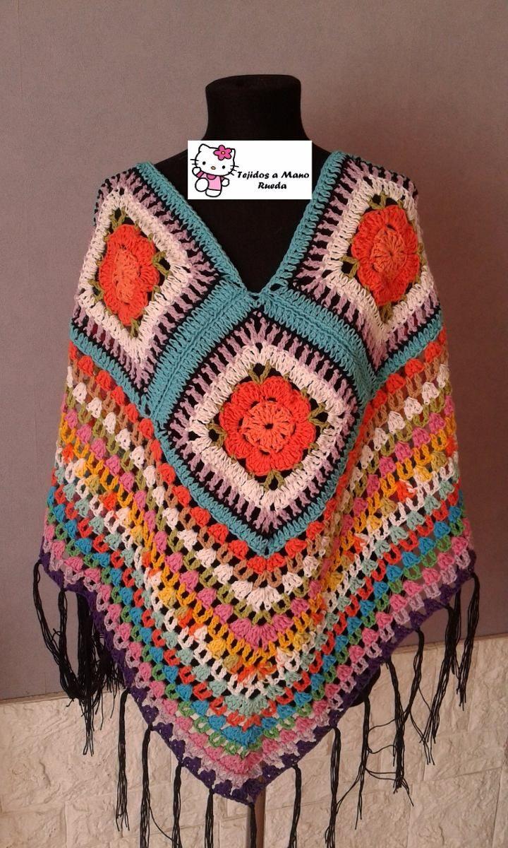 Increíble Patrón Poncho Crochet Grueso Imágenes - Manta de Tejer ...