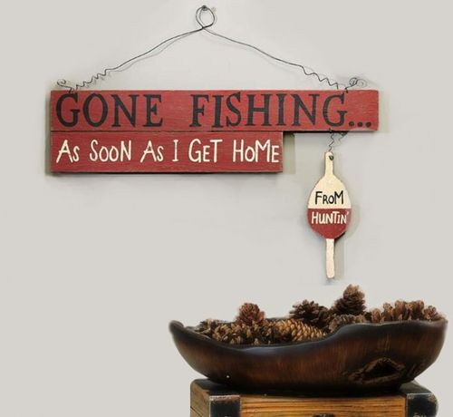 Hang This Decorative Gone Fishing Sign In Your Home Or Cabin To
