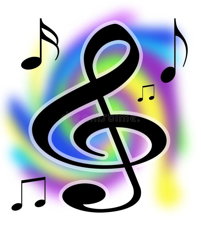 Treble Clef Music Notes Illustration. Colorful Treble Clef