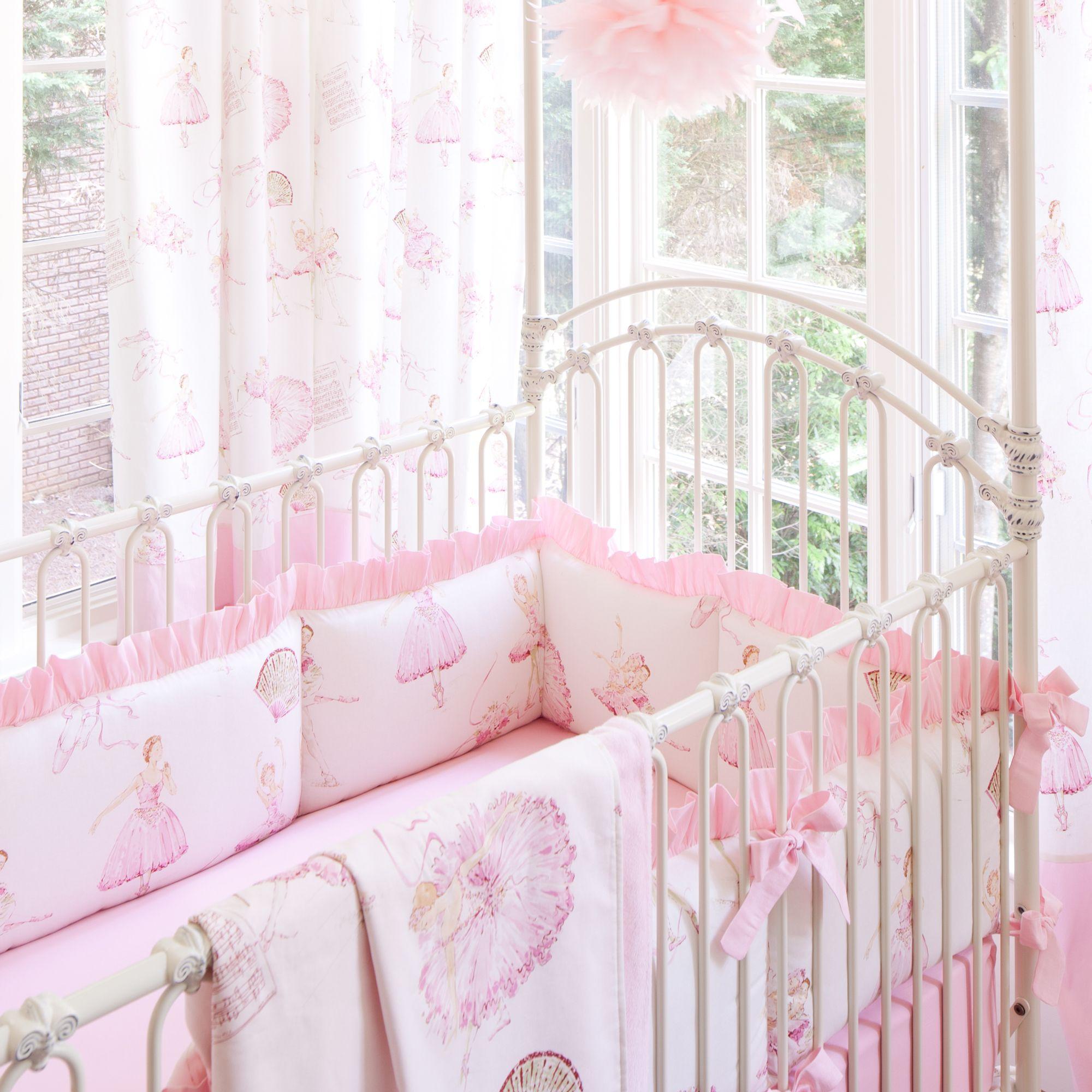 Royal Ballet Crib Bedding Pink And Ivory Ballerina Carousel