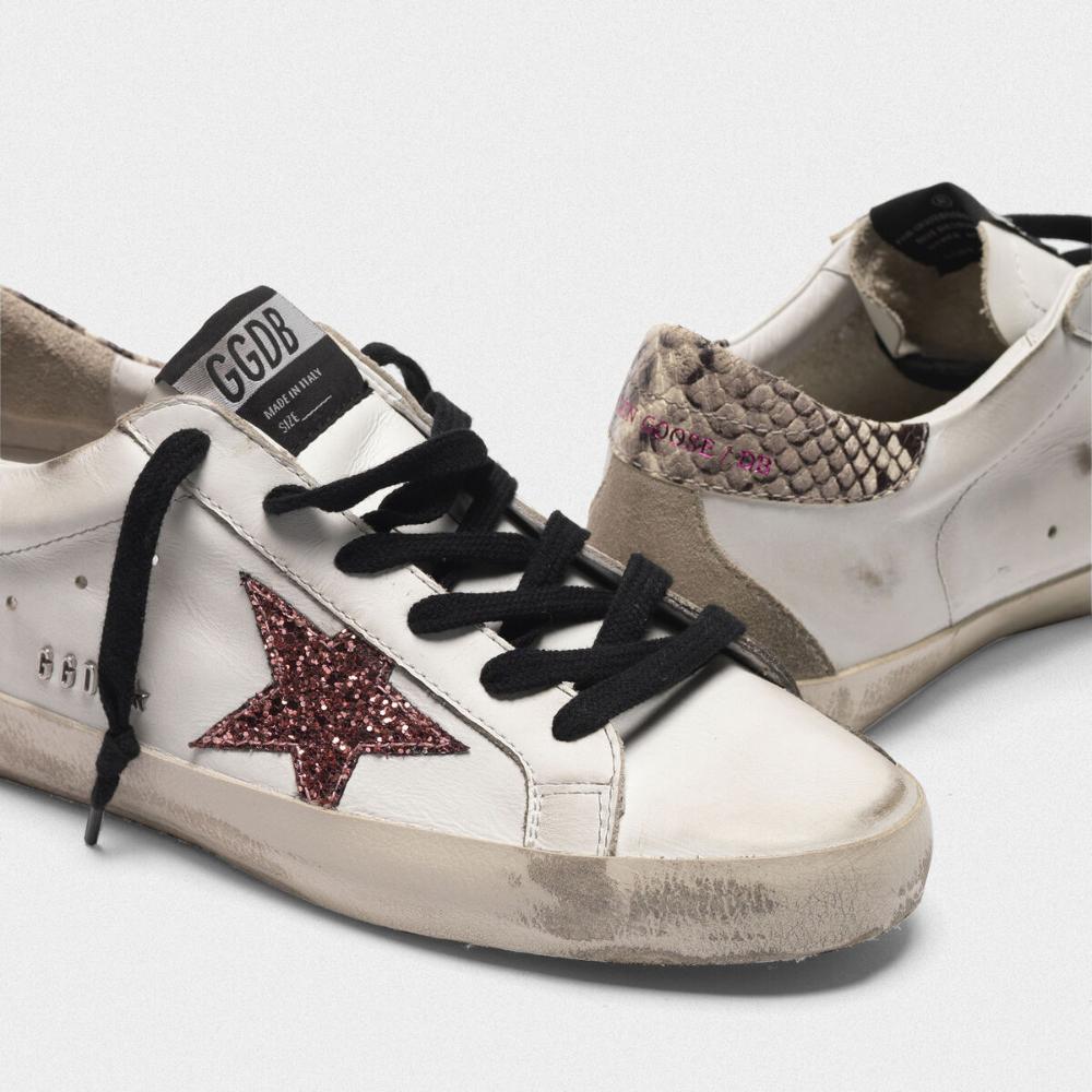 Sneakers Super-Star avec étoile argentée, talon avec imprimé ...