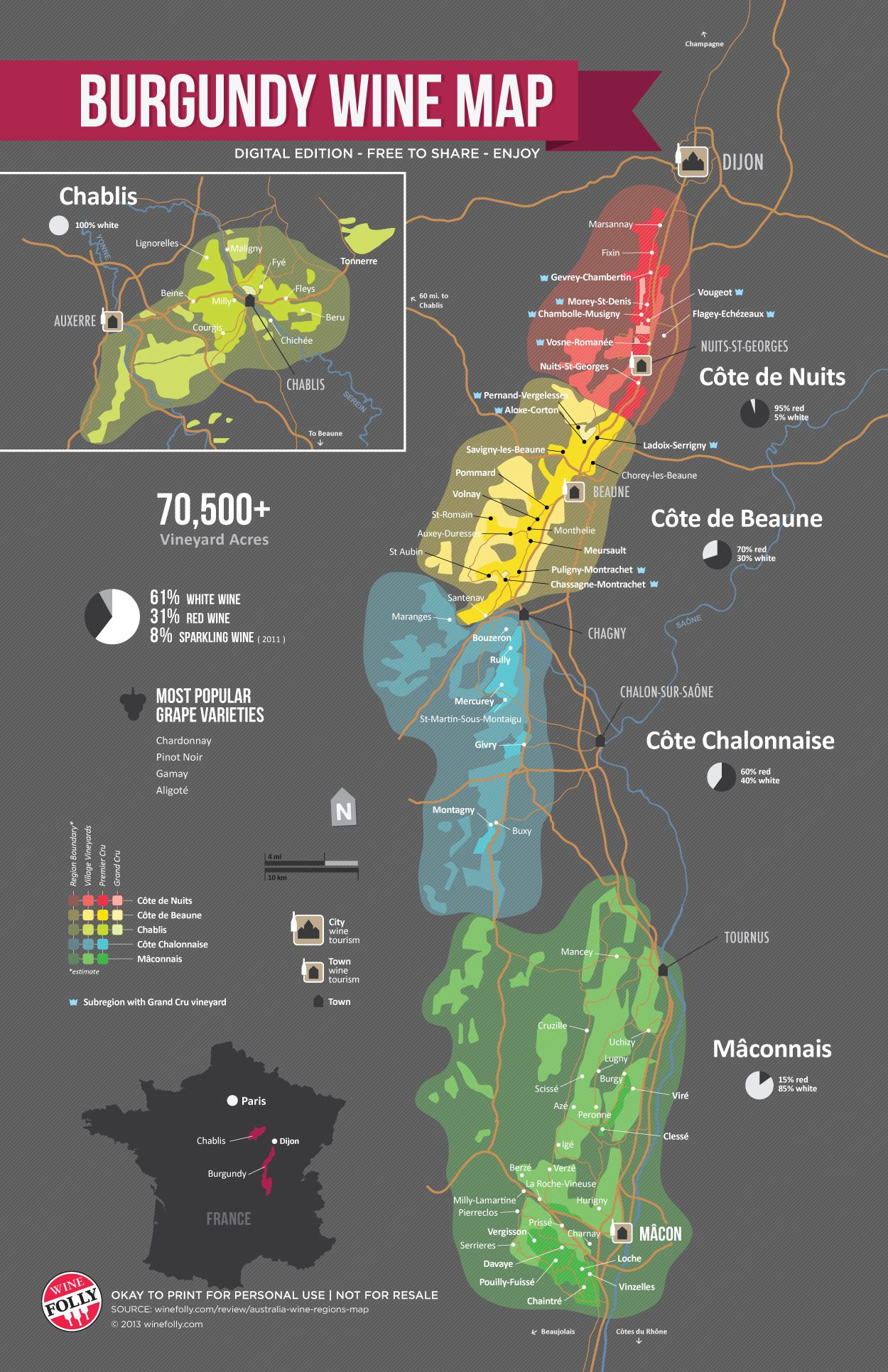 A Simple Guide to Burgundy Wine with Maps Burgundy wine map Wine