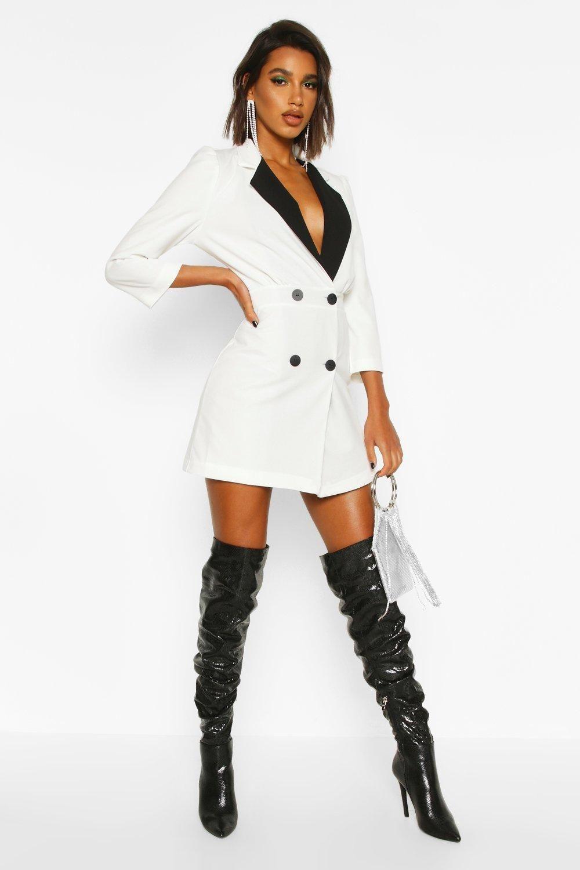 Contrast Collared Volume Sleeve Blazer Dress Boohoo Blazer Dress Contrast Collar Fashion [ 1500 x 1000 Pixel ]