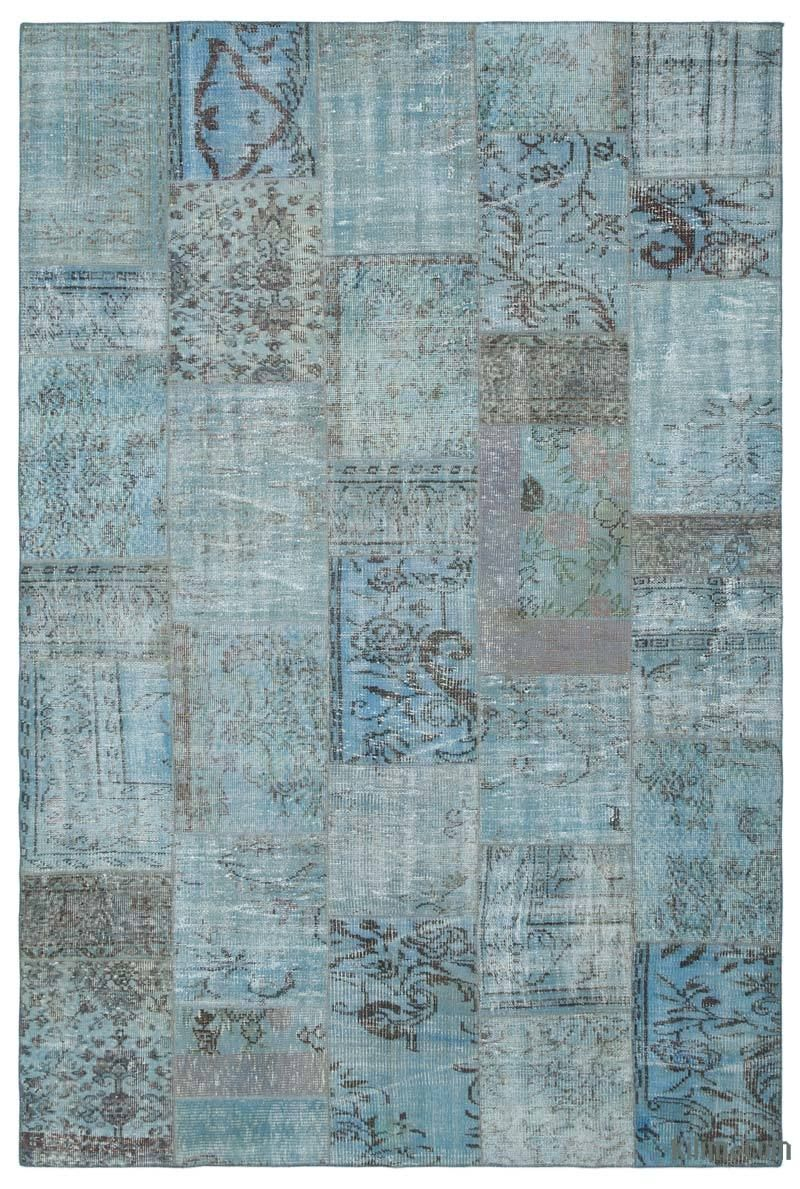 K0021650 Blue Over-dyed Turkish Patchwork Rug | Kilim Rugs, Overdyed Vintage Rugs, Hand-made Turkish Rugs, Patchwork Carpets by Kilim.com