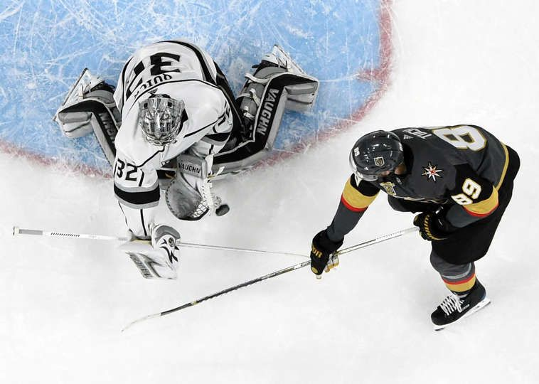 Las Vegas Nv April 13 Jonathan Quick 32 Of The Los Angeles Kings Blocks A Shot By Alex Tuch Golden Knights La Kings Hockey Vegas Golden Knights