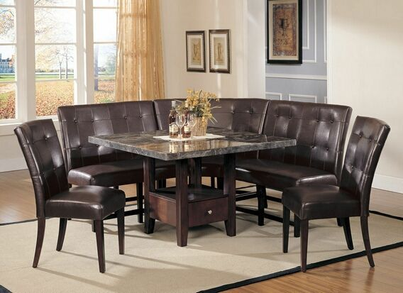 Square Table With Bench Pc Bologna Square Black Marble Dining