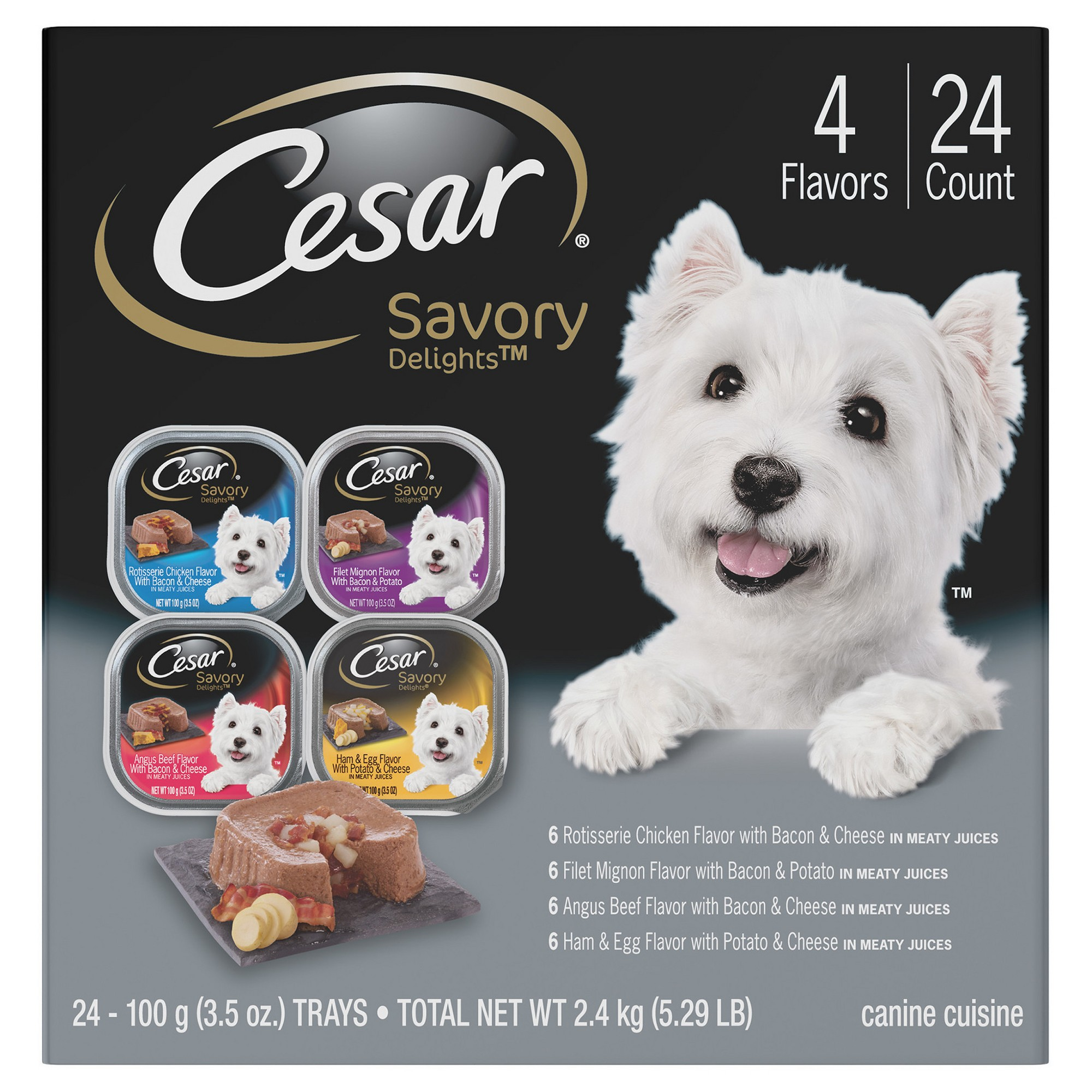 Cesar savory delights variety pack wet dog food 24ct