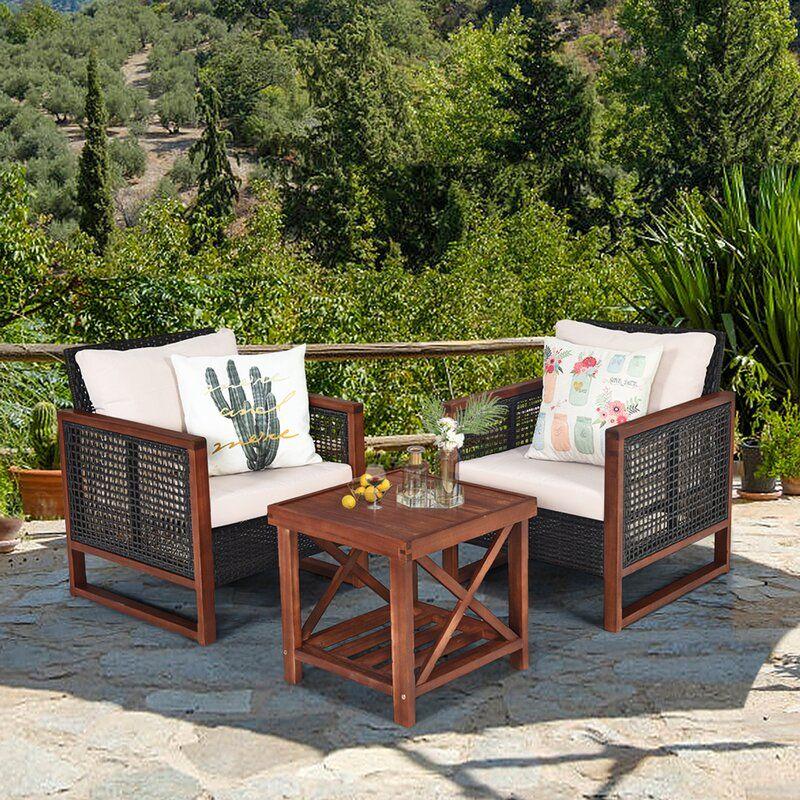 Bayou Breeze Waynoka Outdoor Furniture 3 Piece Rattan Rabbithutchesoutdoorlarge Wicker Patio Furniture Outdoor Furniture Sets Conversation Set Patio