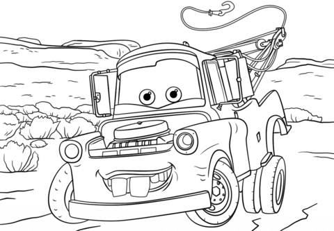 Tow Mater From Cars 3 Coloring Page From Disney Cars Category Select From 25655 Printab Disney Coloring Pages Cars Coloring Pages Coloring Pages Inspirational