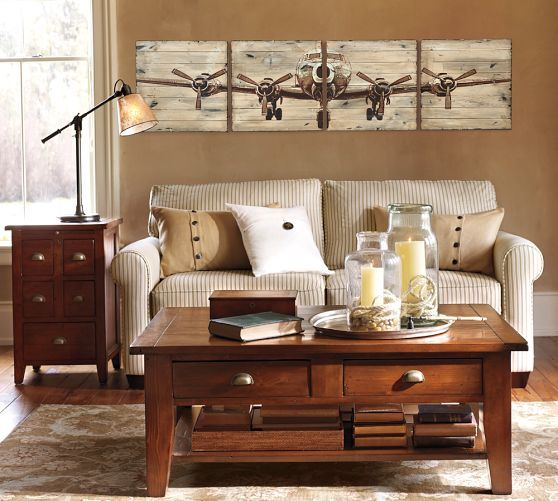 Planked Airplane Panels Pottery Barn Living Room Airplane Decor Home