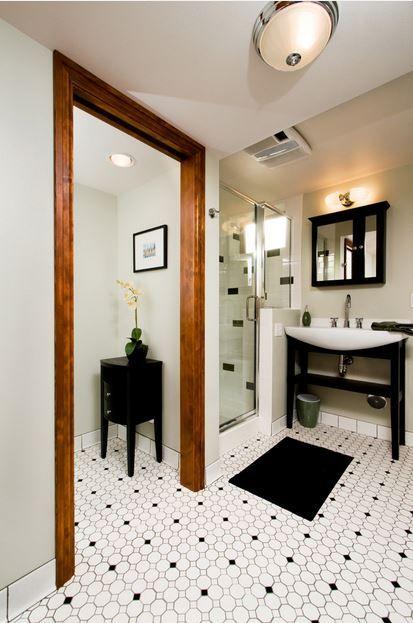 Black Amp White Hexagon Mosaic Floor Tile Wood Door Trim White Shower Tile With R Black And White Tiles Bathroom Black Tile Bathrooms White Bathroom Tiles