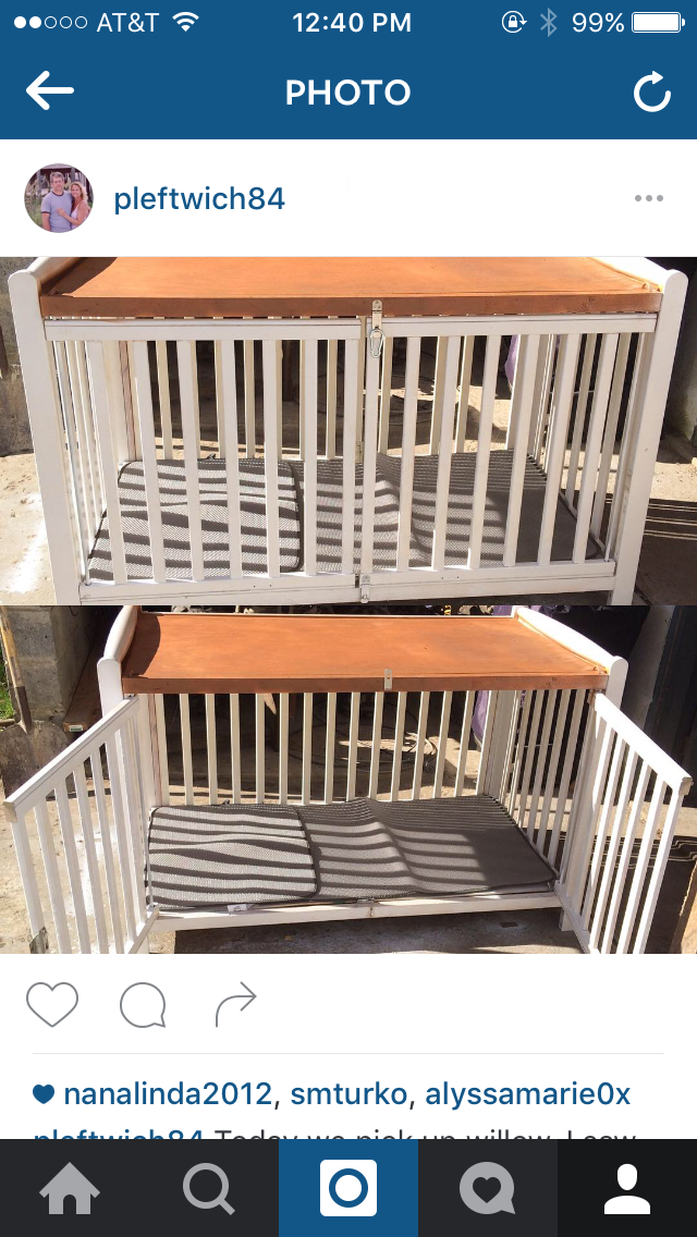 My Husband Made This Dog Crate Out Of Our Old Baby Crib Very Simple And Very Beautiful Dogcrate Hondenspullen Hondenmand Hondenhok
