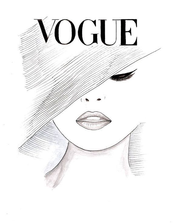 Watercolor vintage 1950s vogue poster vogue face cover by zoia
