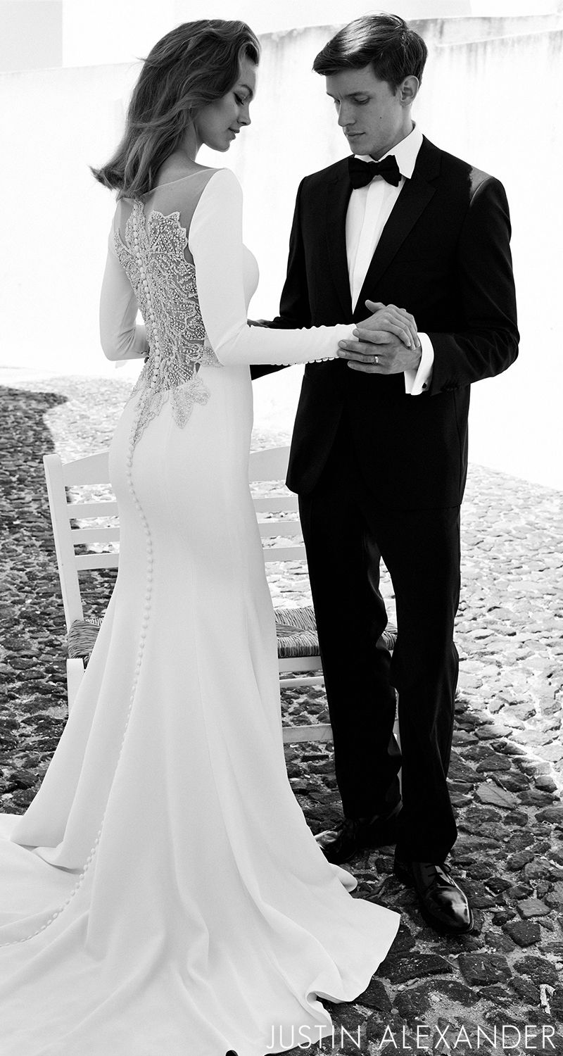 Style crepe long sleeved wedding dress with beaded illusion