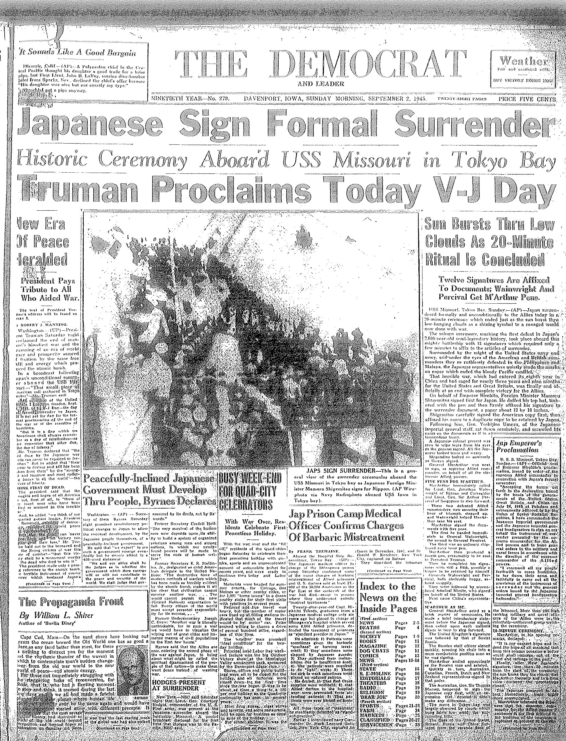 The Japanese surrender in World War II.