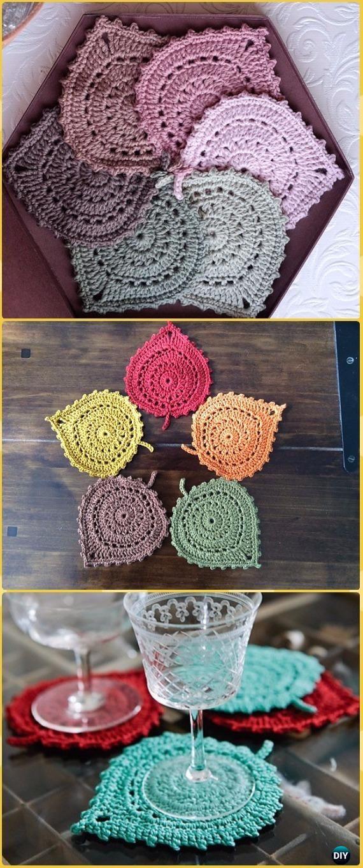 Crochet Lace Leaf Coasters Free Pattern - Crochet Coasters Free ...