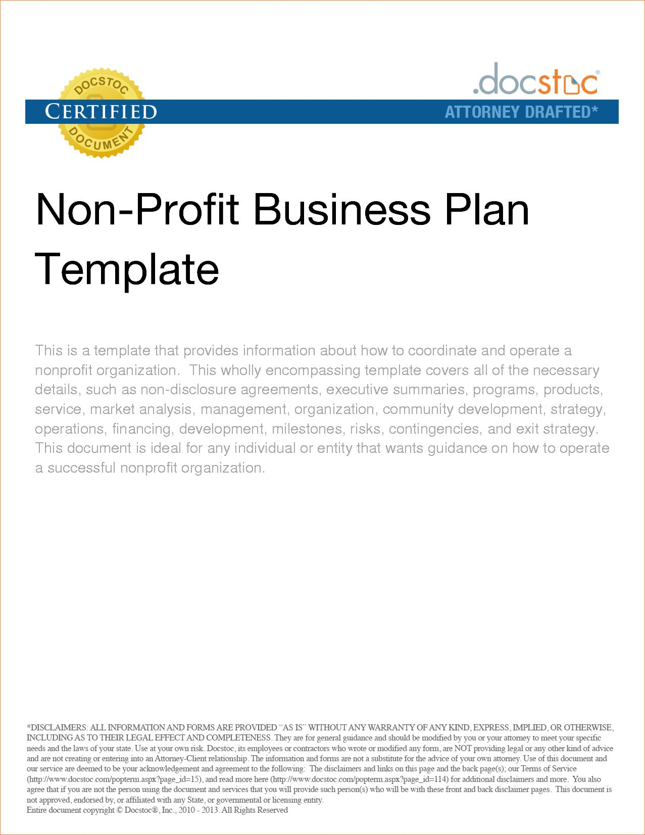 Template Ideas Nonprofit Business Plan Outlinereport