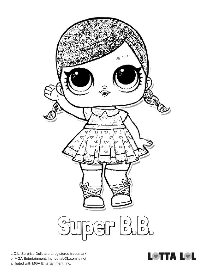 Super Bb Glitter Coloring Page Lotta Lol Kids Printable Coloring