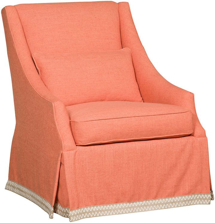 One Kings Lane Houston Swivel Chair, Coral Bolster cushions