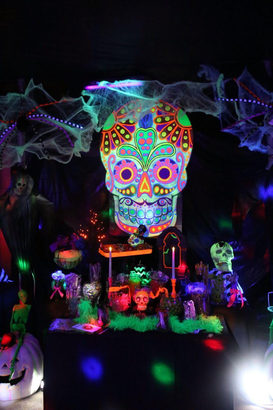 glow in dark neon day of dead halloween garage party black light