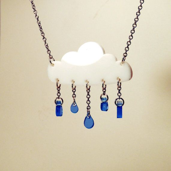 Happy Little Rain Cloud Laser Cut Acrylic Necklace By