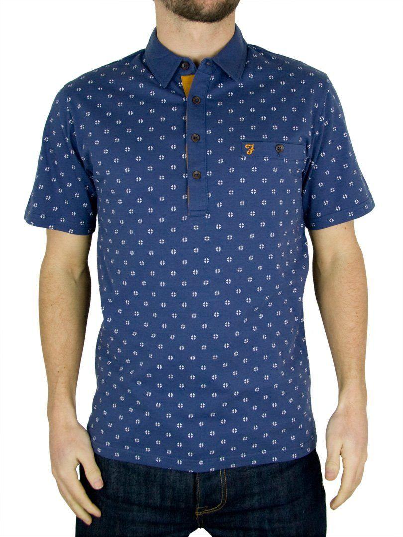 dd9e325f Farah Vintage - Washed Indigo The George Pattern Polo Shirt - Mens: Amazon. co.uk: Clothing