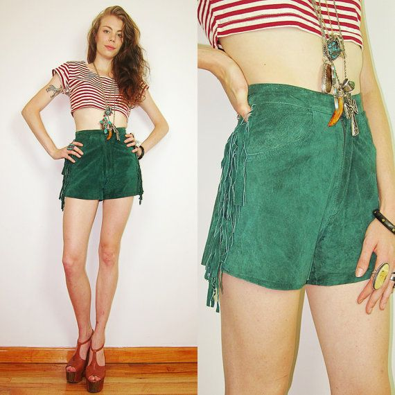 Denim Decor Yee Haa Or Yee Ouch: 1980s Southwestern Green FRINGE Suede Leather Shorts Boho