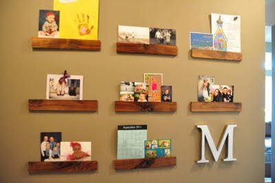 display wall = wood + hot glue gun