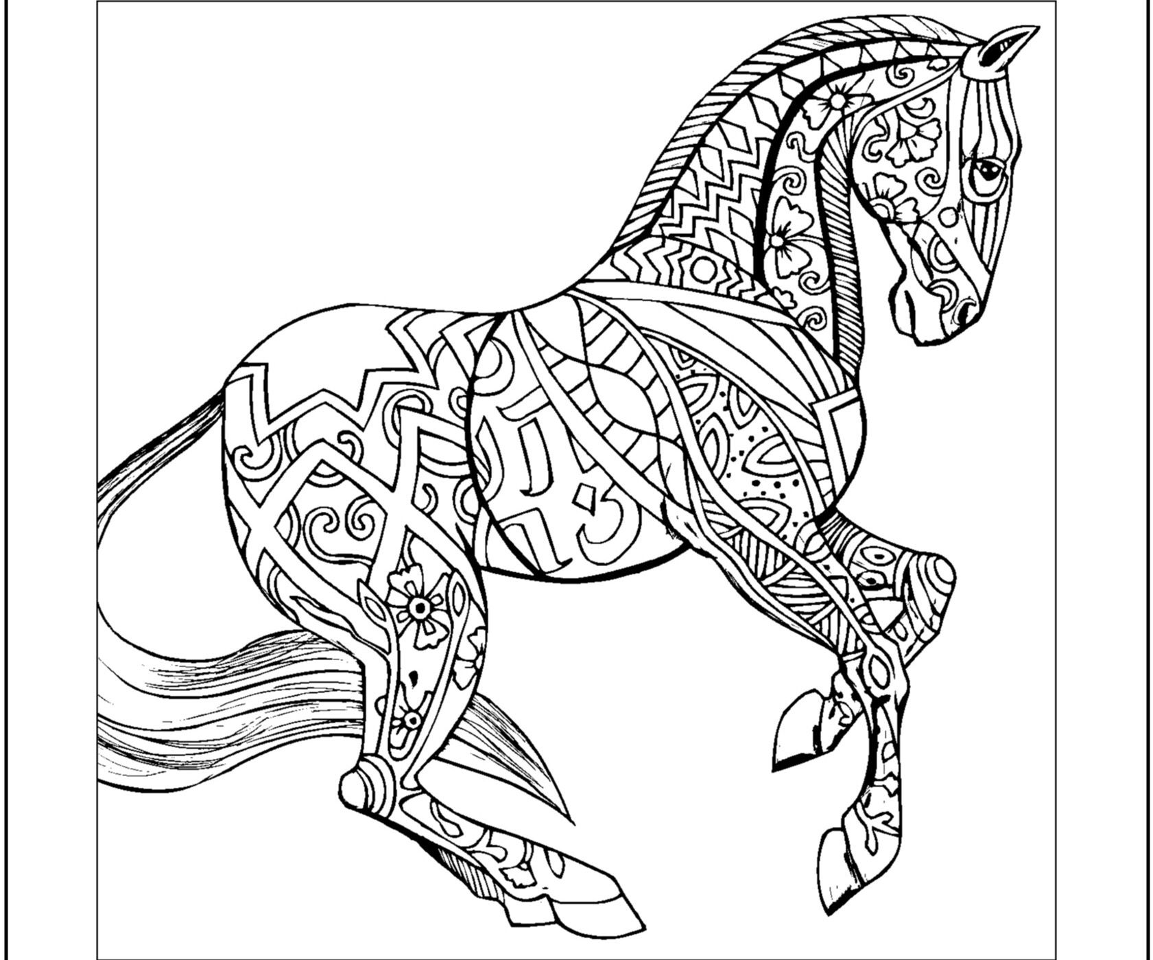 coloring book pages of horses | Hard horses coloring pages Animal coloring pages | Horse ...