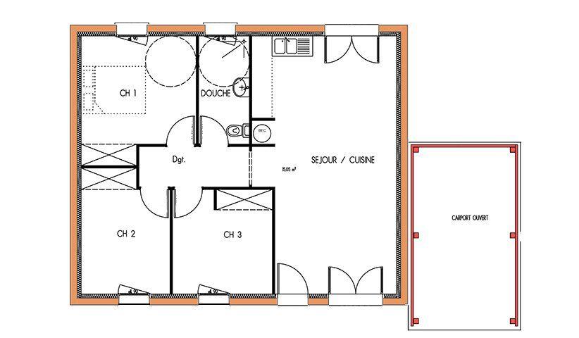 Mod le maison abordable de plain pied de 69 m avec 3 for Maison moderne carre